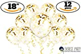 Gold Confetti Balloons - Large Gold Balloons - PREFILLED 12 Pack 18'' Latex Party Decorations Balloons for Birthday - Wedding - New Years - Celebration Glitter Balloons