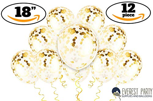 Gold Confetti Balloons - Large Gold Balloons - PREFILLED 12 Pack 18'' Latex Party Decorations Balloons for Birthday - Wedding - New Years - Celebration Glitter Balloons by Everest Party Supplies And Balloons