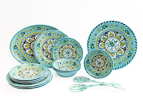 Le Cadeaux Luxury 16 Piece Melamine Dinnerware Set, Service
