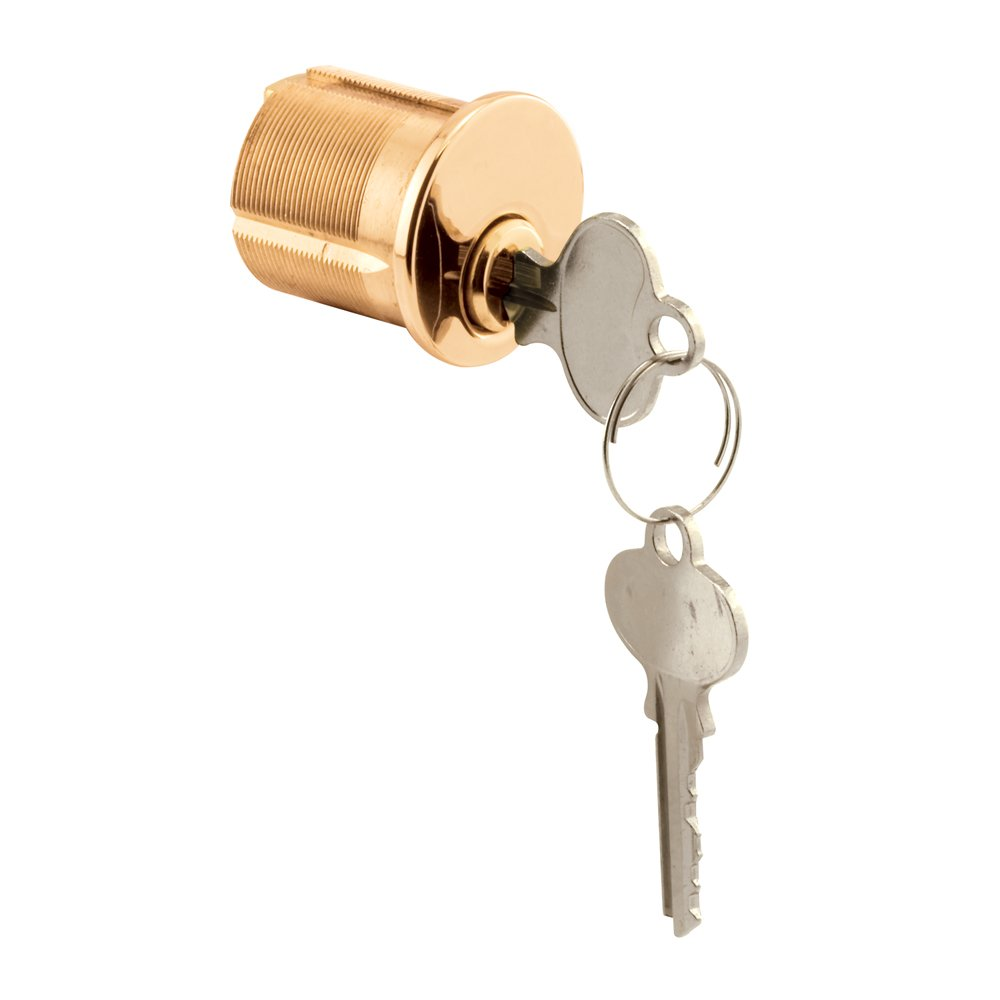 Defender Security E 2562 Segal SE-1 Keyway Mortise Cylinder, 1-1/8 in. x 1-1/4 in, Solid Brass, 5 Pins, 2 Cams, Pack of 1