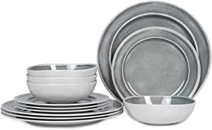Melamine Dinnerware Set - 12pcs Dishes Dinnerware Set for 4, Indoor and Outdoor use, Dishwasher Safe, Break-resistant, Lightweight, Gray