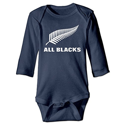 All Blacks Feather Logo Unisex Baby Infant Long Sleeve Bodysuits Playsuit In 3 Colors - Baby Rugby