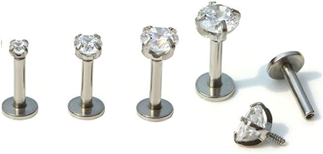 1pc CZ Gem Round Tragus Lip Ring Monroe Ear Cartilage Stud Earring Body Piercing