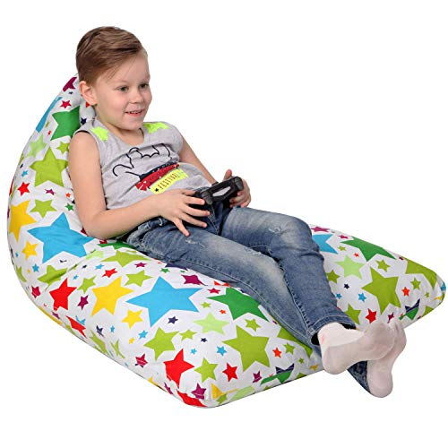 Stuffed Animal Storage Bean Bag - Cover Only - Large Triangle Beanbag Chair for Kids - 180+ Plush Toys Holder - Floor Pillows Organizer for Boys and Girls - 100% Cotton Canvas - Holiday Stars