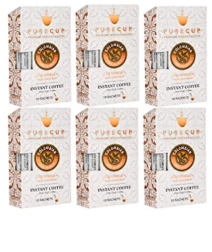 - PURECUP COLOMBIAN PREMIUM INSTANT COFFEE - Made from 100% Arabica Coffee Beans⎮Single Serve Sachets ⎮Light And Elegant ⎮6 BOXES of 10 Sachets EACH 60 Sachets TOTAL - Kosher - Imported