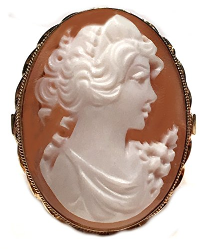 - Princess Cameo Ring Sterling Silver 18k Gold Overlay Master Carved, Shell Size 8.25 Italian