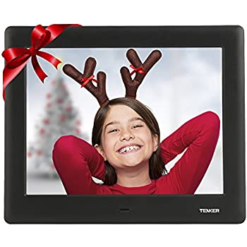 TENKER 7-inch HD Digital Photo Frame IPS LCD Screen with Auto-Rotate/Calendar/Clock Function, MP3/Photo/Video Player with Remote Control (Black)