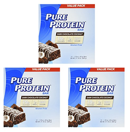 Pure Protein Dark Chocolate Coconut, 1.76oz, 3 Pack (12 Count) by Pure Protein
