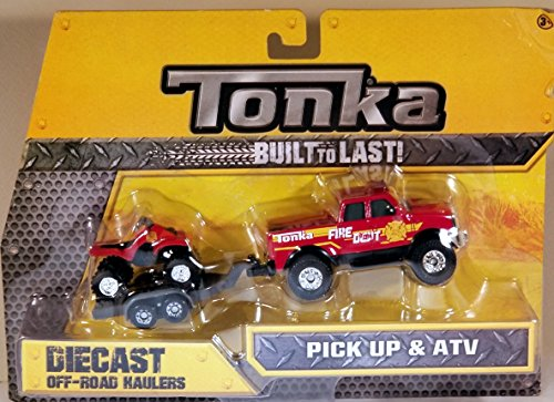 Tonka Diecast Metals - Fire Department Pick-Up and ATV with Trailer - 1:64 scale vehicle