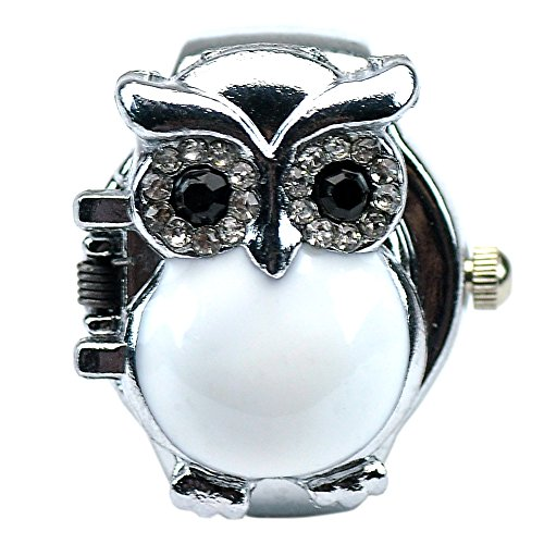Women's Fashion Lovely Owl Crystals Quartz Finger Ring Watch with Gift Box