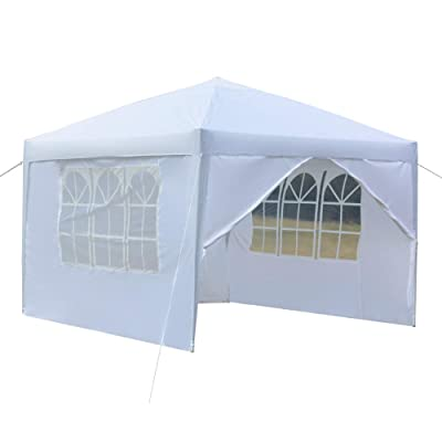 aruoquan 10'x10' Canopy Party Wedding Party BBQ Tent Folding Gazebo Beach Canopy Cater Event Outdoor with Two Doors & Two Windows (White) : Garden & Outdoor