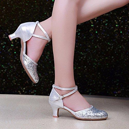 argent US6 EU36 UK4 CN36 Masocking@ Femme Chaussures de Danse Sandales Les paillettes soft bas chaussures de danse, chaussures de danse moderne