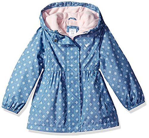 Carter's Baby Girls Midweight Fleece Lined Windbreaker, Chambray, (Lined Windbreaker Jacket)