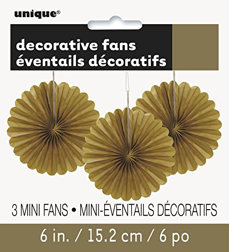 Unique Industries, Mini Tissue Paper Fan Decorations, 6 Inches, Party Supplies - Gold, Pack of 3