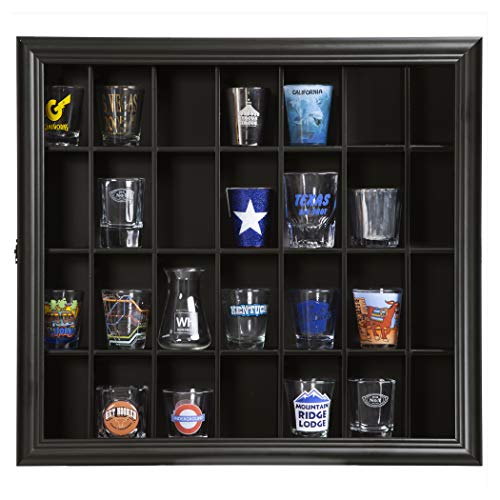 Gallery Solutions 18x16 Shot Glass Display Case with Hinged Front in Black - Front Door Hinged Clear