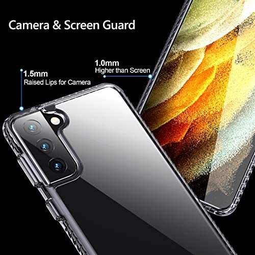 AINOYA Case Compatible with Samsung Galaxy S21 Plus 6.7 Inch, Anti-Yellowing Military Grade Drop Protective Slim Thin Hard PC Back with Soft TPU Silicone Bumper