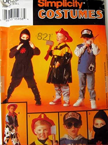 Simplicity Pattern Costumes Siz A sm-lg Cowboy, Police, Ninja or Fireman -