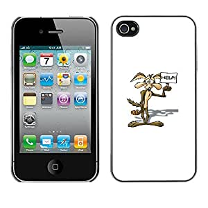 Apple iPhone 4 / iPhone 4S / 4S , Radio-Star - Cáscara Funda Case Caso De Plástico (Cartoon Coyote)