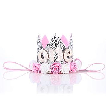 Ouken Baby Prinzessin Tiara Krone First Birthday Hut Sparkle Gold Flower Style Mit Kunstlichen Rosen