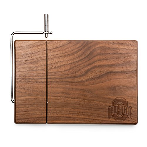 PICNIC TIME NCAA Ohio State Buckeyes Meridian Black Walnut Cutting Board with Cheese Slicer
