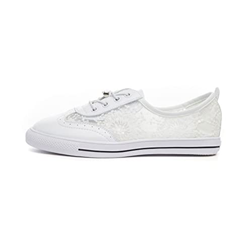 Zapatos de Mujer Zapatos de Malla Ocasionales, Cómodos Zapatos Blancos, Mocasines de Punta Redondeada, Zapatos de Cubierta con Cordones de Verano: ...