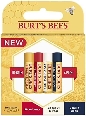 Burt's Bees 100% Natural Moisturizing Lip Balm, Multipack, 4 Tubes in Blister Box