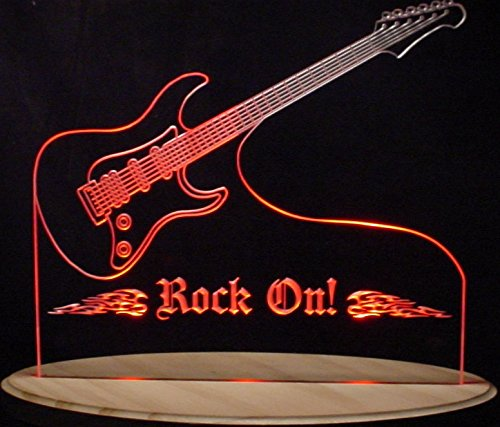 Guitar Acrylic Lighted Edge Lit LED Sign / Light Up Plaque - Edge Lit Acrylic