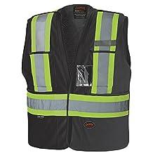 Pioneer V1021470-S/M Tear-Away Safety Vest, Black, Medium