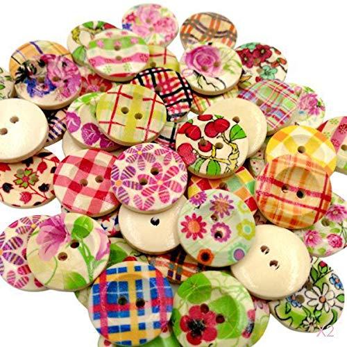 D DOLITY DIY 20mm 木製ボタン カラフル 花柄 丸型 裁縫用 クラフト 約100個 耐久性の商品画像