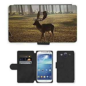Super Stella Cell Phone Card Slot PU Leather Wallet Case // M00104553 Antler Holders Wild Animals Nature // Samsung Galaxy S3 S III SIII i9300