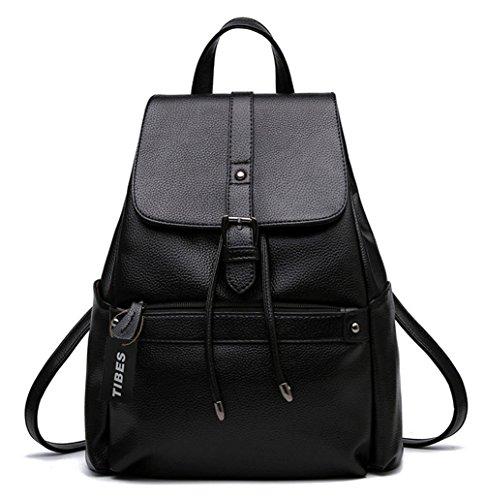 Tibes Pequeña mochila impermeable bolso Mochila de cuero PU mujer backpack Negro