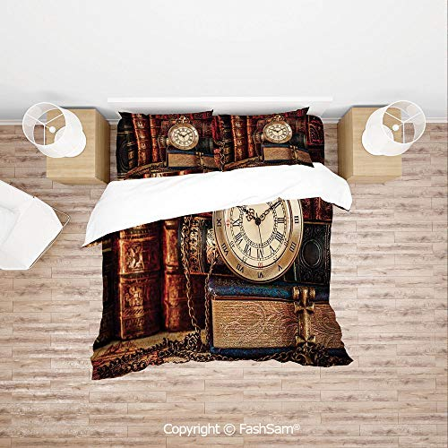 (FashSam 4 Piece Bedding Sets Breathable Nostalgic Classic Pocket Watch on The Background of Old Books Dated Archive Photo for Home(King))