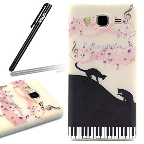 Funda para Samsung Galaxy S6, Galaxy S6 TPU funda de silicona transparente noctilucent Carcasa ultra-slim Cover Skin Shell, Ukayfe caso de la cubierta de la caja protectora del caso de goma Ultra Delg negro de piano