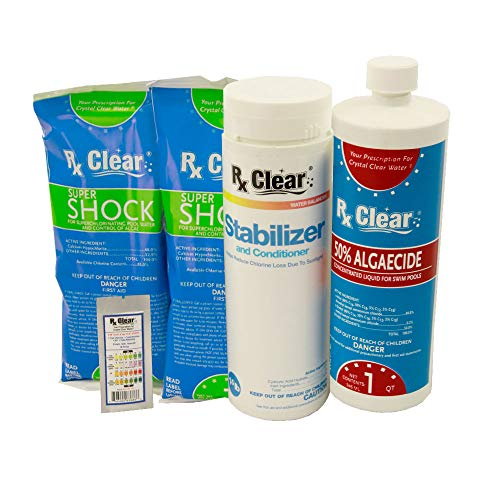 (Rx Clear Spring Start-Up Kit | Chemicals for Opening Swimming Pools | Above or Inground | for Pools Up to 15,000 Gallon)
