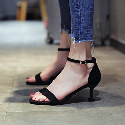 Girl De Stiletto Alto High Sandals Zapatos Summer 9cm Female Fresh Black Tacón Yukun Fashion Heels Cat Women With Small Word A tPwqqaZ5
