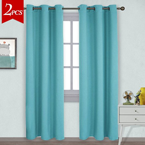 NICETOWN Window Treatment Thermal Insulated Solid Grommet Blackout Curtains / Drapes for Bedroom (Set of 2 Panels,42 by 84 Inch,Turquoise) - Light Turquoise Color