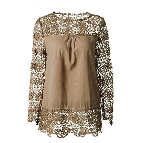 T Top Chiffon Donna Casuale YUMM Tops Pizzo Cotone Camicia Sciolto Ladies Cachi Camicetta Shirt 8qRw55PxC