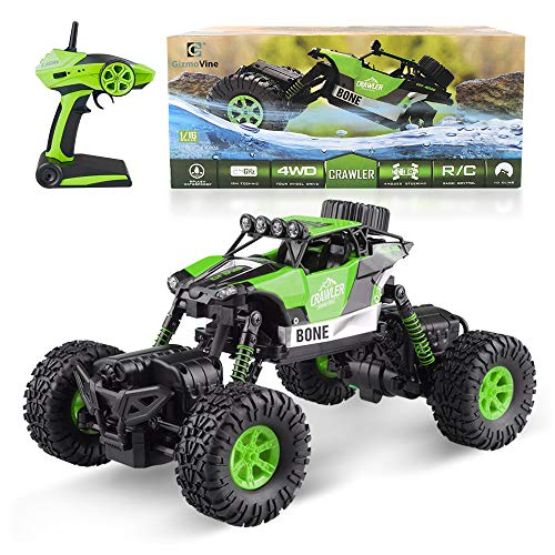(Gizmovine RC Rock Crawler Car 4WD 4 Modes Steering Waterproof 2.4Ghz Radio Control Toy Monster Truck Off Road (1/16 Scale) Green ZC0005-U2)