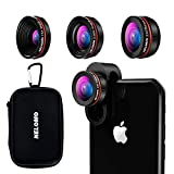 NELOMO Universal Professional HD Camera Lens Kit Compatible with IPhone X/8/7Plus/7/6sPlus/6s, Samsung S8+/S8 and other Cellphones Smartphones(230° Fisheye Lens, 0.65X Super Wide Angle Lens, 15X Super Macro Lens)