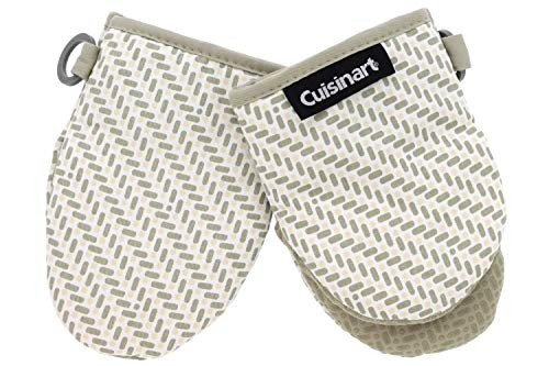 """Cuisinart Silicone Mini Oven Mitts, 2 Pack-Little Oven Gloves for Cooking-Heat Resistant, Non-Slip Grip, Hanging Loop, 5.5"""" x 7.5""""-Ideal for Handling Hot Kitchen/Bakeware Items-Brick Print-Feather Tan"""