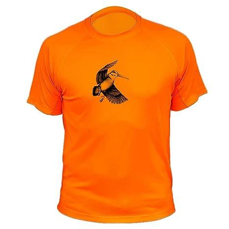 Camiseta de Caza, Becada, Regalos para Cazadores (187, Naranja, XXL)