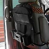 Tmalltide Auto Back Seat Storage Bag Folding Car Seat Organizer Leather Bottle Holder