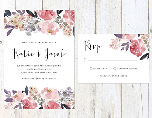 Lavender and Blush Wedding Invitation, Soft Flowers Wedding Invitation, Rustic Wedding Invitation by Alexa Nelson Prints
