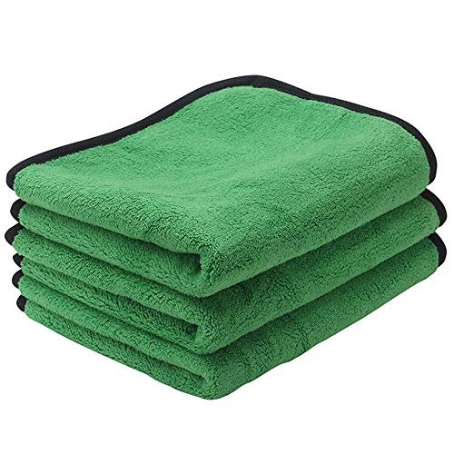 ZYTC Microfiber Cleaning Cloth Lint Free Dual Layer Ultra-Thick Microfiber Towel Car Polishing Waxing Cleaning Detailing Cloth Microfiber Car Towels Green 12 x 16 inch 3 Pack ()