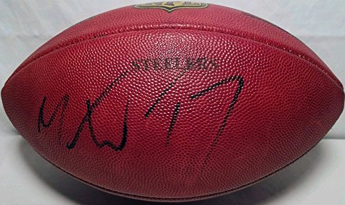 Pittsburgh Steelers 17 Mike Wallace Signed Autograph Game Used Wilson NFL Football JSA (Nfl Autograph Game Ball)