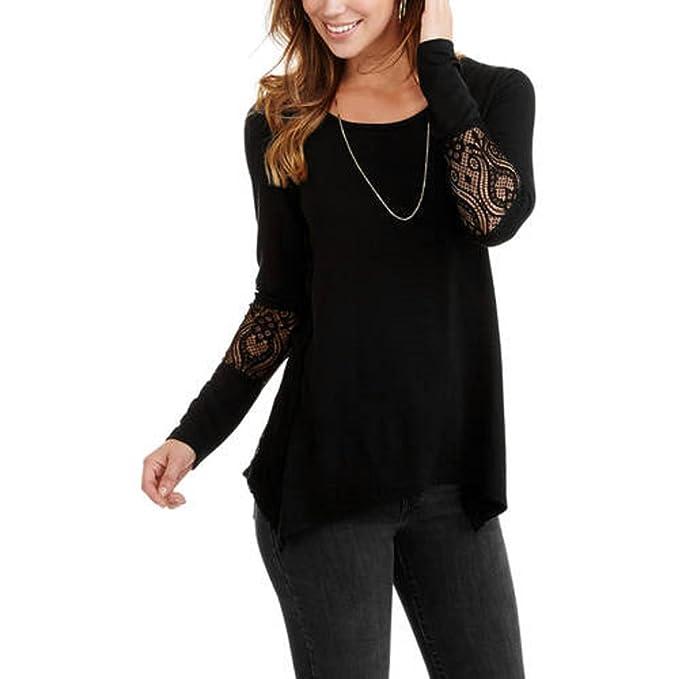 4b9f558e4 Faded Glory Women's 3/4 Sleeve Lace Detail T-Shirt with Sharkbite Hem (