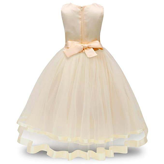 Moonker Girls Wedding Dress for 2-8 Years Old,Child Kids Baby Girl Sleeveless
