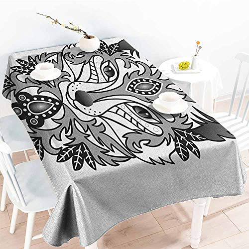 (Fox,Decor Collection Table Cloths Ornamental Fox Face with Tree Leaves Oval Shapes Dots Floral Curves Art Print 52