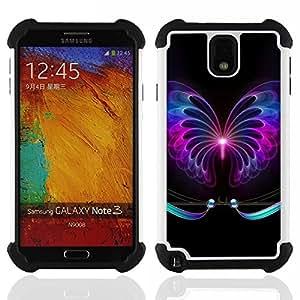 """SAMSUNG Galaxy Note 3 III / N9000 / N9005 - 3 en 1 impreso colorido de Altas Prestaciones PC Funda chaqueta Negro cubierta gel silicona suave (Neon tatuaje sesión Negro Oscuro"""")"""