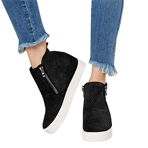 (DEARWEN Women's Heel Platform Casual Sneakers Zipper Wedge High Top Sports)